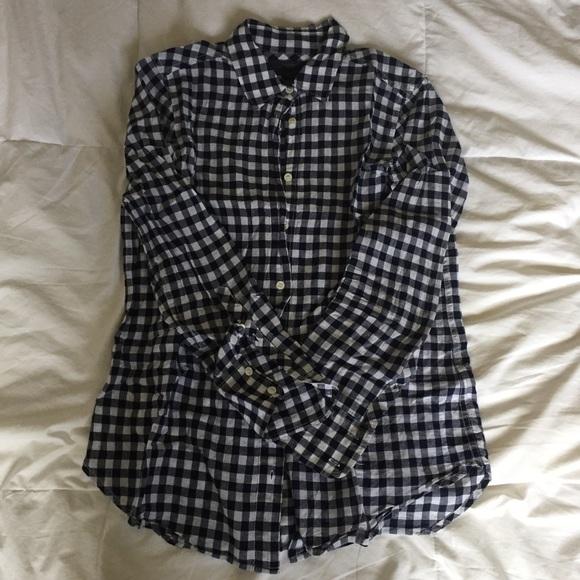 95332b42847f9 J. Crew Tops   Jcrew Crinkle Gingham Boy Shirt Navy Petite 0   Poshmark